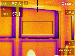 This image below shows the thermal bridging – shown in blue/purple.